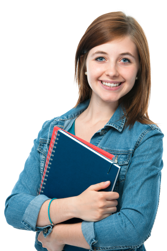 young student girl with exercise books